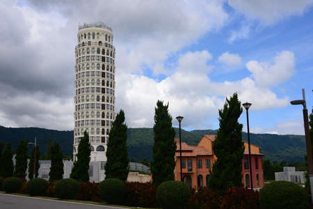 NAKHON RATCHASIMA, THAILAND – 9 AUGUST 2020 : Toscana Piazza is inspired by the leaning tower of Pisa. Designed to resemble the Italian landmark, Toscana Valley Italian style in khao yai Sajtókép