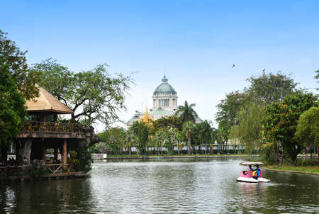 Beautiful architecural of the Ananta Samakhom Throne Hall (now closed), view from Dusit zoo (now closed) old stockphoto when 2017 Stock fotó