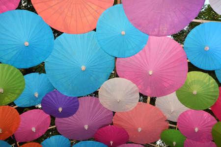 Colorful Paper umbrella handmade umbrella, Colorful umbrellas background Stock fotó