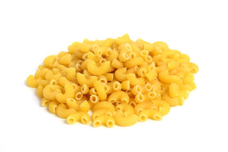 Macro photo food product raw eibow macaroni Vermicelli on white background