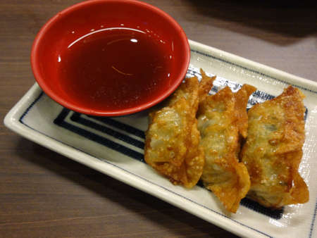 Gyoza (Japanese Fried Dumplings, note  select focus with shallow depth of field