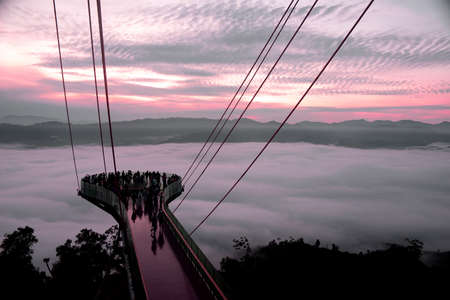 Magnificent view from the top of tower taking at Aiyerweng Skywalk, Betong, Bang Lang national park, tropical rainforest Southern Thailand.
