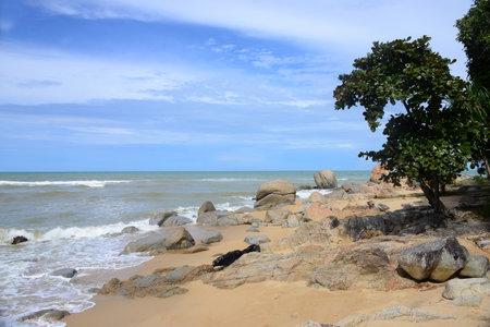 Ao Manao Beach Part of Ao Manao-Khao Tanyong National Park,the beautiful white sandy beaches and overlapping rocky seashores, Narathiwat Province, South of Thailand 版權商用圖片