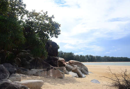 Ao Manao Beach Part of Ao Manao-Khao Tanyong National Park,the beautiful white sandy beaches and overlapping rocky seashores, Narathiwat Province, South of Thailand