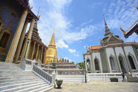 The Temple of the Emerald Buddha or Wat Phra Kaew no people in the time of  Virus Disease