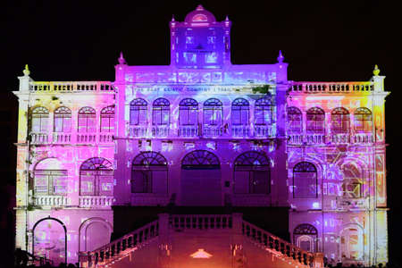 BANGKOK, THAILAND – 17 JUNE 2021 : Bangkok Projection Mapping Competition 2021 which will be held at the East Asiatique Building  (Soi Charoenkrung 40) in Bangkok Design Festival 2021.