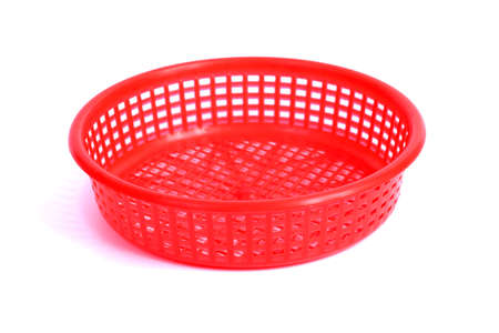 Red Round Plastic Basket, note select focus with shallow depth of field