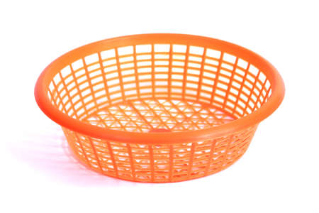 Orange Round Plastic Basket, note select focus with shallow depth of field