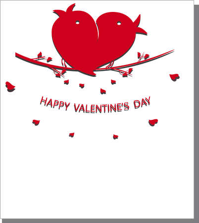 hollidays: Card for Valentines day with birds. Vector illustration.