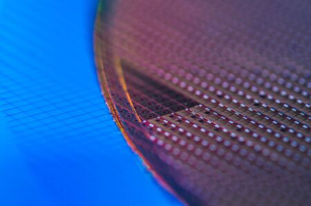 Macro of Silicon wafers Chip Technology Background in Rainbow colors