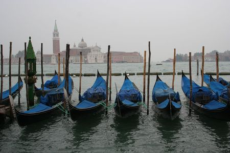 Venice gondolas San Giorgio Maggiore in background photo