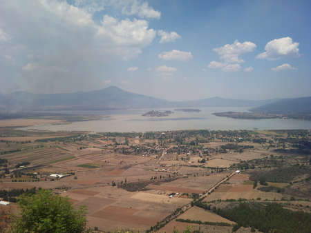 stirrup: Janitzio and Lake Patzcuaro from the viewpoint of the stirrup Stock Photo
