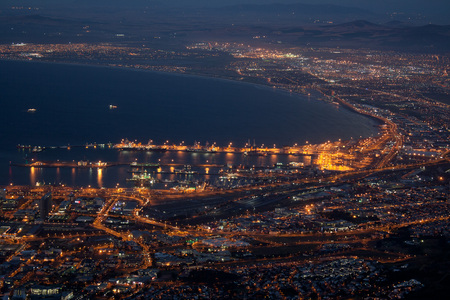 Cape Town harbor and city lights