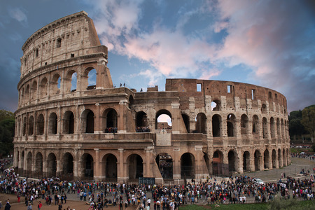 Ancient Colosseum in Rome at dusk Editorial