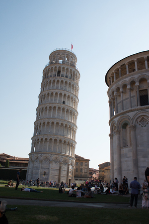Leaning Tower of Pisa on a summer day Editorial