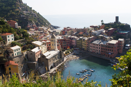 Beautiful colorful cityscape on the mountains, Cinque Terre, Italy Stock Photo
