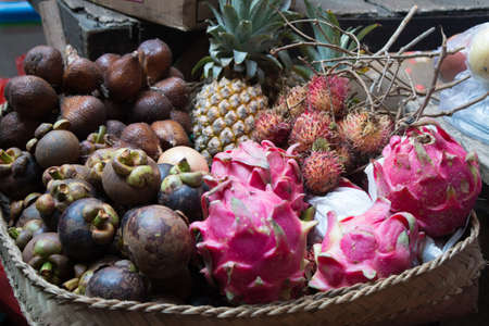Colorful Indonesian exotic fruit in a market