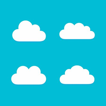 Set of Cloud Icons in trendy flat style isolated on blue background. Cloud symbol Vector illustration
