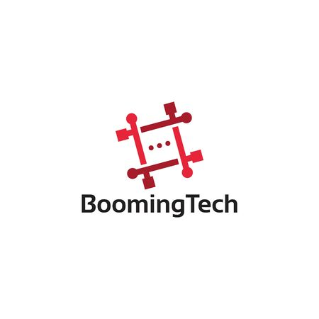 Simple and modern Technology logo, Booming Tech Logo template designs  イラスト・ベクター素材