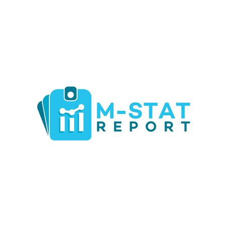 modern business report logo, M initial Stat Report logo vector illustration