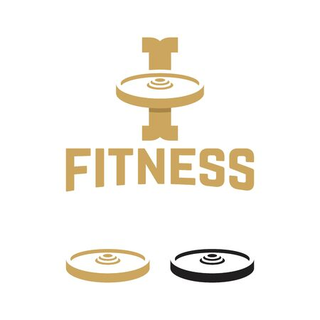 Weight plates logo template, vintage I initial Logo Fitness industry vector illustration