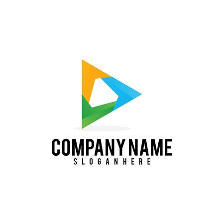 triangle media Play logo design vector illustration