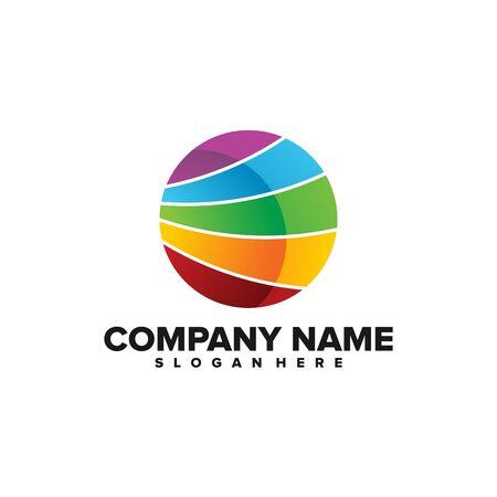 Ilustración de vector de logotipo de bola colorida Logos