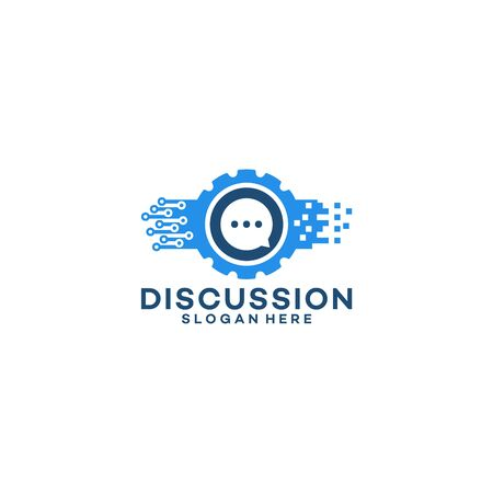 Discussion Tech Logo template designs vector illustration
