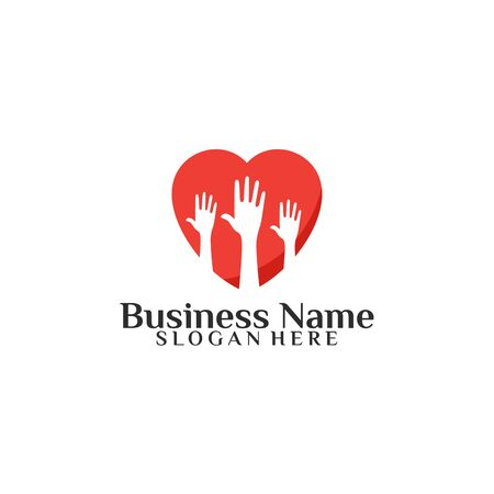 People Charity Logo designs template with love symbol Logo