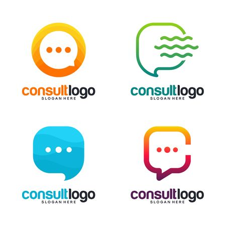 Set of Consult Communication logo designs template, Chat logo collection vector Banque d'images - 137056691