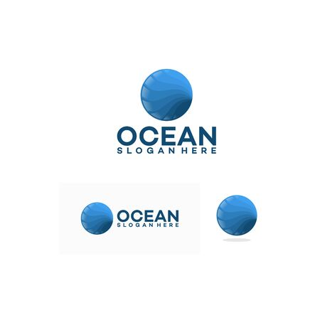 Abstract design of ocean logo with waves. Vector illustration