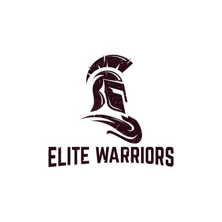 Classic Sparta warrior helmet logo with grunge effect
