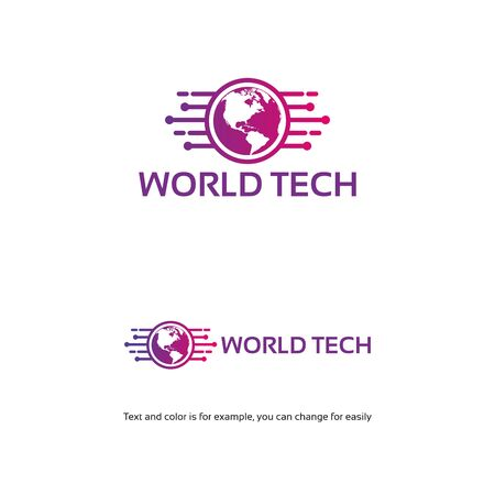 World Tech logo template, Simple line art world tech logo template