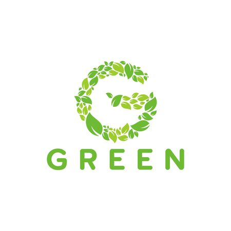 Green initial logo with leaf texture template designs