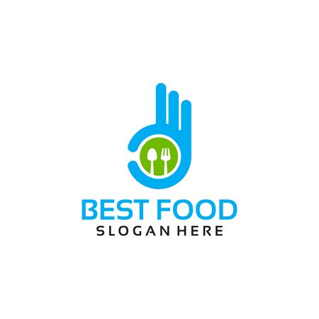 Best Food Logo Template with Hand Gesture vector illustration