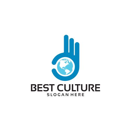 Best Culture Logo Template with Hand Gesture vector illustration