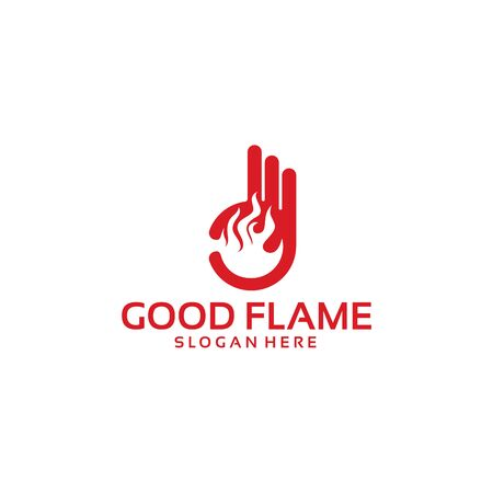 Good Flame Logo Template with Hand Gesture vector illustration Stock Illustratie