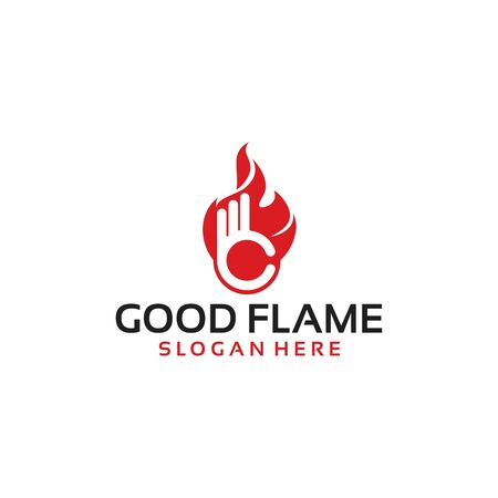 Good Flame Logo Template with Hand Gesture vector illustration  イラスト・ベクター素材