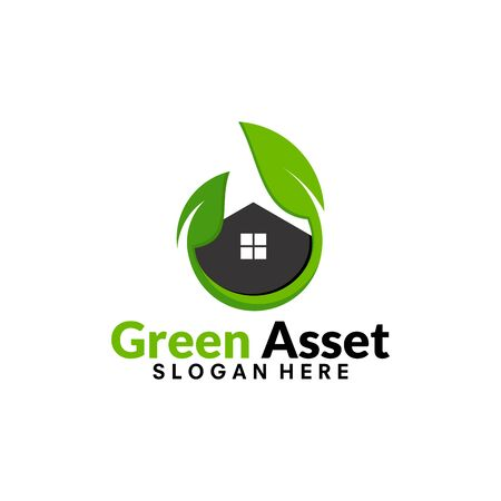 real estate, Green House, Green Asset , Green invest, logo iconic vector illustration Vectores