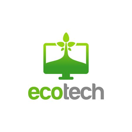 Eco Technology Logo template designs, Green Computer Logo Template