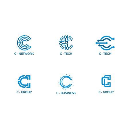 C initial Tech logo vector set, Cool C Initial Wire logo template vector Logo