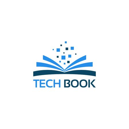 Book Learning Logo with Pixel element vector illustration