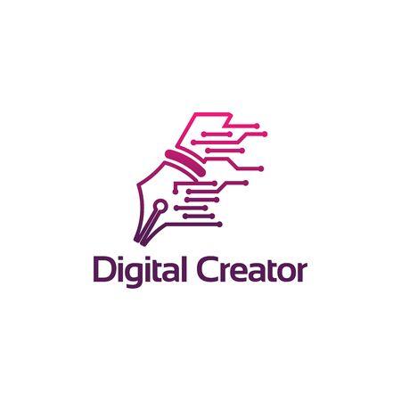 Digital Write logo template, Technology Creator Logo designs vector Logo