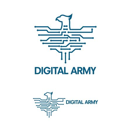 Digital Army Logo template, Digital Bird Logo template vector