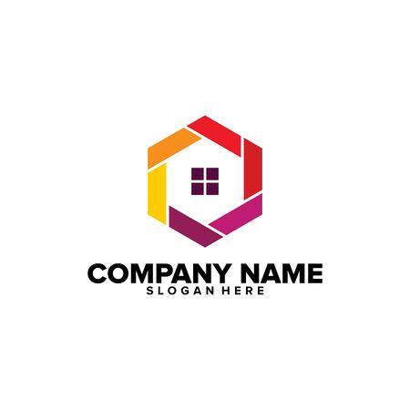 Vecteur de conceptions de logo d'art de ligne de maison simple, modèle de logo immobilier