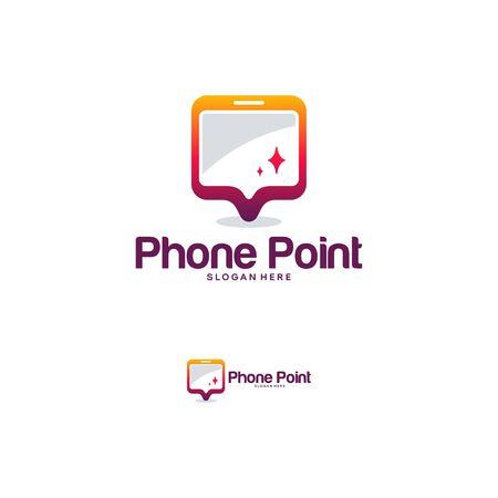 Phone Point logo designs vector, Mobile Place logo template vector