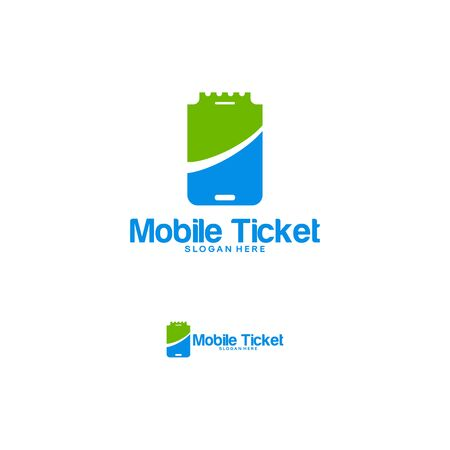 Mobile Ticket logo designs vector, Phone Ticket logo template designs Stock Illustratie