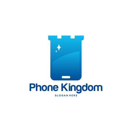 Phone Kingdom logo designs vector, Mobile Castle logo template Foto de archivo - 137568771