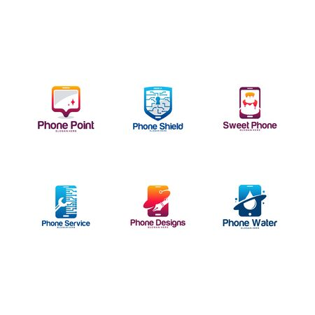Collection of Mobile Logo designs concept, Set of Phone logo designs template