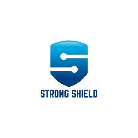 Strong Shield Logo designs, Strong S initial logo template designs vector illustration Illustration